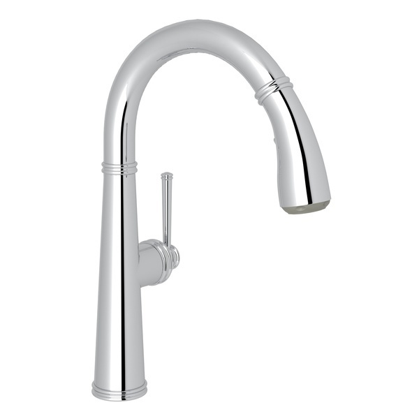 Polished Chrome 1983 Pull-Down Bar/Food Prep Faucet with 1983 Metal Lever