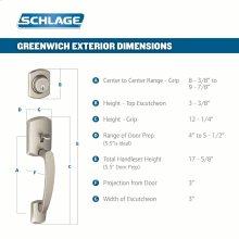 Greenwich Single Cylinder Handleset and Merano Lever - Satin Nickel