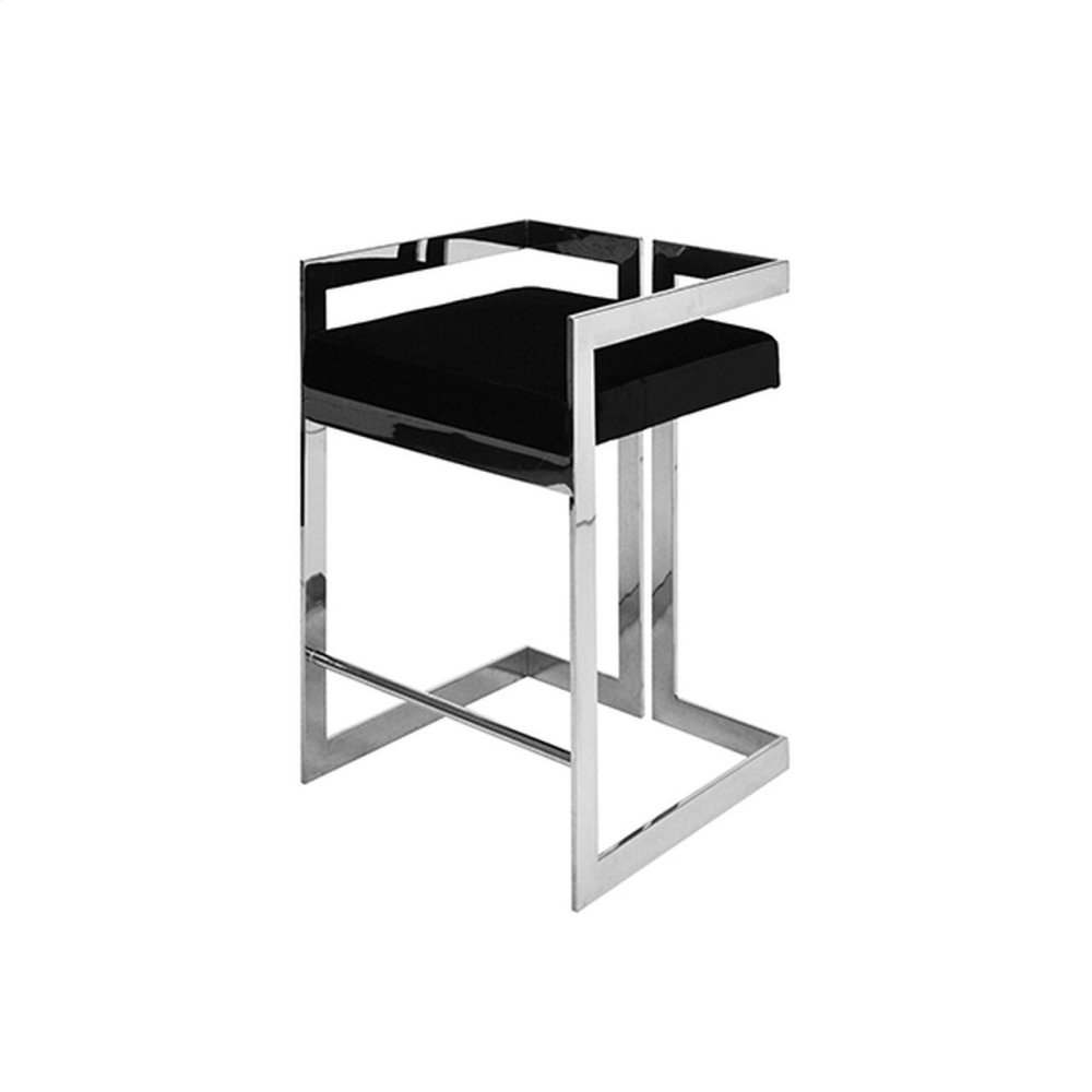 Counter Height Nickel Stool With Black Velvet Cushion - Seat Height: 27""