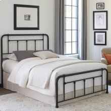 Baldwin Complete Bed with Metal Posts and Detailed Castings, Textured Black Finish, King