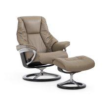 Stressless Live Medium Signature Base Chair and Ottoman