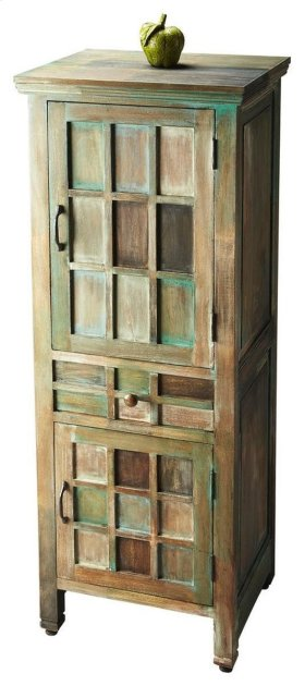 The muted, antiqued color tones of greens, browns and whitewash imbue this cabinet with rustic elegance. Crafted from acacia wood solids and wood products in the Water Colors finish with complementary, brass-finished hardware, the cabinet features abundan