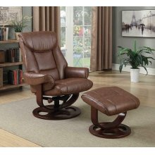 Transitional Chestnut Chair With Ottoman