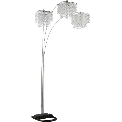 Traditional Chrome and Black Floor Lamp