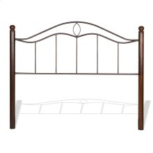 Cassidy Metal Headboard Panel with Sloping Horizontal Rails and Dark Walnut Wood Color Finial Posts, Mink Finish, Full