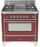 "Antique White with Chrome Trim 36"" - 5 Burner Gas Range + Griddle Product Image"