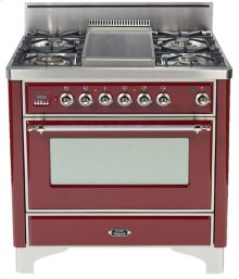 "Antique White with Chrome Trim 36"" - 5 Burner Gas Range + Griddle"