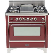 """Stainless Steel with Chrome Trim 36"""" - 5 Burner Gas Range + Griddle"""