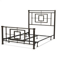 Sheridan Complete Bed with Squared Metal Tubing and Geometric Design, Blackened Bronze Finish, California King