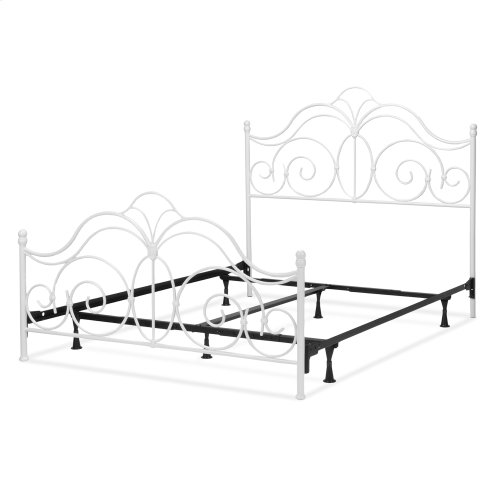Rhapsody Complete Metal Bed and Steel Support Frame with Delicate Scrolls and Finial Posts, Glossy White Finish, Queen