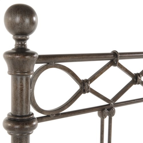 Argyle Metal Headboard Panel with Diamond Pattern Top Rail and Double Spindle Castings, Copper Chrome Finish, Queen