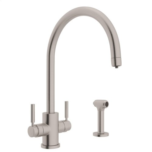 Satin Nickel Perrin & Rowe Holborn Filtration 2-Lever Kitchen Faucet With Sidespray with Modern Lux Metal Lever