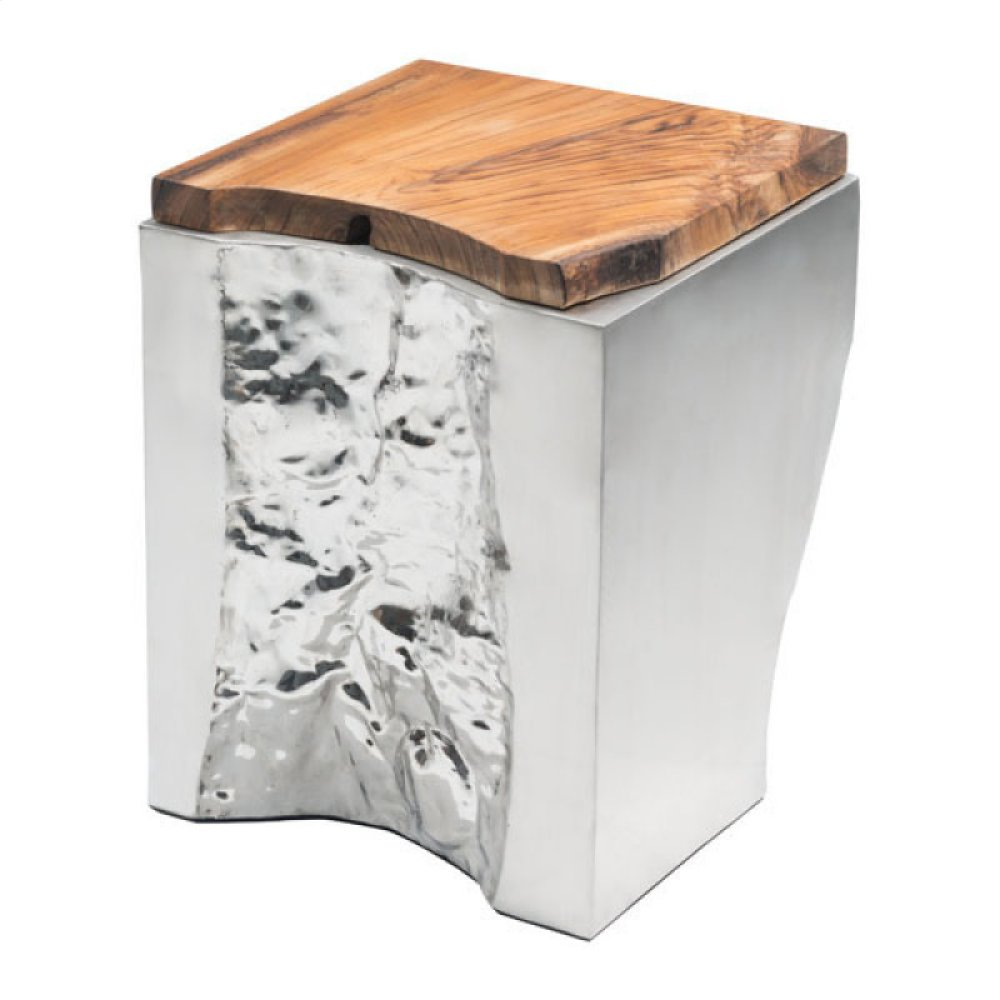 Luxe Side Table Natural & Stainless Steel