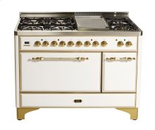 "True White with Brass trim 48"" Majestic Solid Door 7 Burner Dual Fuel Range + Griddle"