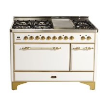 """Stainless with Chrome trim 48"""" Majestic Solid Door 5 Burner Dual Fuel Range + French Top"""