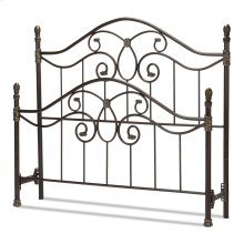 Evanston Metal Headboard and Footboard Bed Panels with Camelback Arches and Soft Gold Highlighted Castings, Blackened Copper Finish, Queen