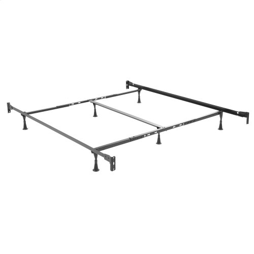Benson Complete Metal Bed and Steel Support Frame with Maple Wood Posts and Sloping Top Rails, Black Finish, California King