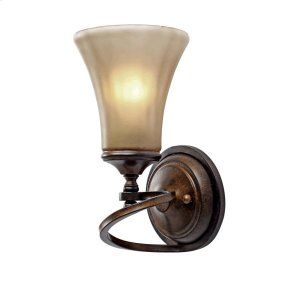 Loretto 1 Light Wall Sconce in Russet Bronze with Riffled Tannin Glass