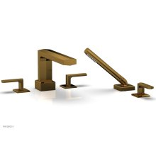 DIAMA Deck Tub Set with Hand Shower - Lever Handles 184-49 - French Brass