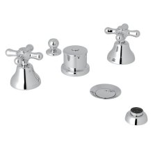 Polished Chrome Verona Five Hole Bidet Faucet with Verona Series Only Cross Handle