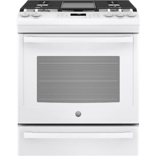 """GE 30"""" Slide-In Front-Control Convection Gas Range"""
