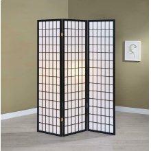 Transitional Three-panel Black Folding Screen