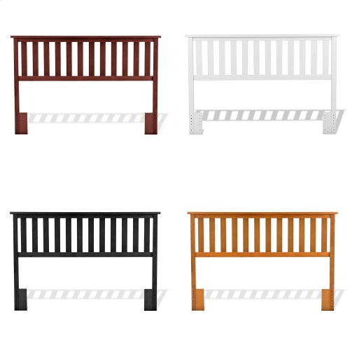Belmont Wood Headboard Panel with Flat Top Rail and Slatted Grill Design, White Finish, Full / Queen
