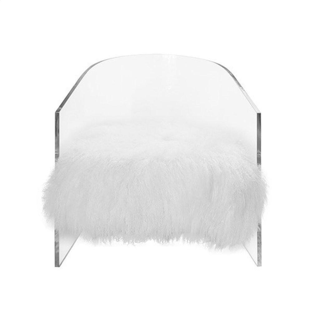 Acrylic Barrel Chair With White Mongolian Seat Cushion