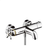 Polished Bronze Thermostatic bath mixer for exposed installation