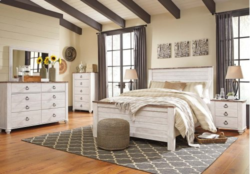 """Whitewash Driftwood"" Panel Bed (Queen HB,FB.Rails)"