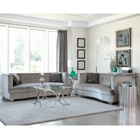 Caldwell Silver Three-piece Living Room Set