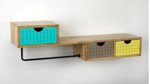 This colorful three drawer, retro modern wall shelf is the perfect addition to your kitchen, bathroom or entry, adding space for storage. The rustic metal bar can display your hand towels and washcloths or use small hangers or clips to hang pot holders o