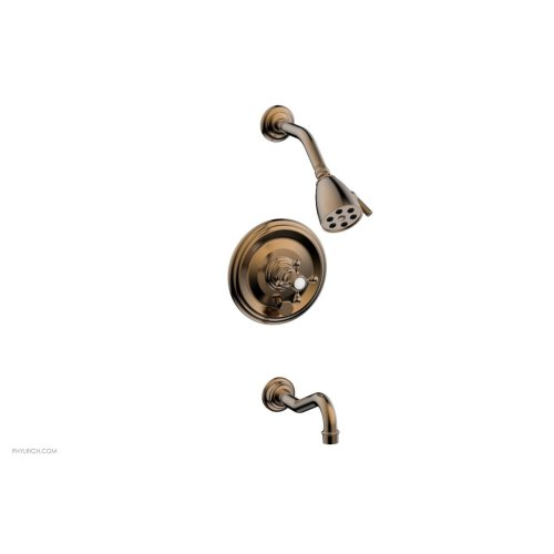 HENRI Pressure Balance Tub and Shower Set - Cross Handle 161-26 - Old English Brass