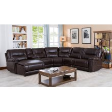 Barrington Brown Leather Gel Left Facing Chaise Reclining Sectional