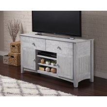 Nantucket 2 Drawer 50 inch Entertainment Console 26x50 with Adjustable Shelves in Driftwood Grey