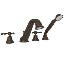 Tuscan Brass Arcana 4-Hole Deck Mount Tub Filler & Handshower with Arcana Series Only Ornate Metal Lever