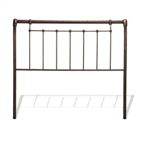 Legion Metal Headboard with Sleigh Design and Twisted Rope Top Rail, Ancient Gold Finish, Queen