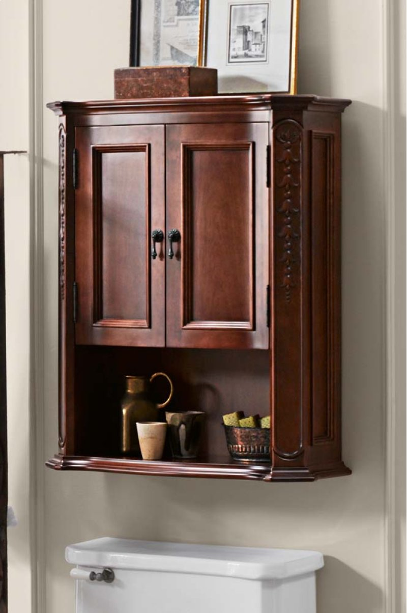 Hidden Additional Bordeaux Bathroom Wall Cabinet In Colonial Cherry
