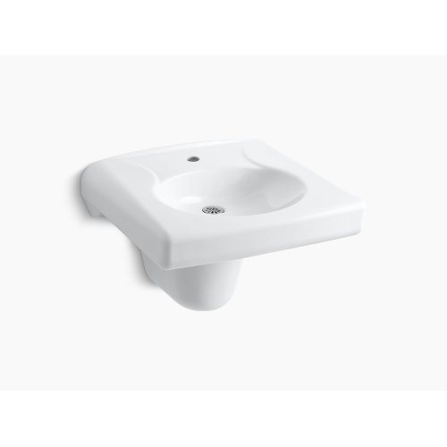 White Wall-mounted or Concealed Carrier Arm Mounted Commercial Bathroom Sink With Single Faucet Hole and Shroud