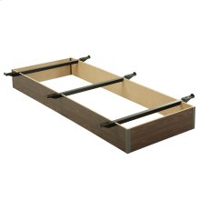 """Pedestal T20 Bed Base with 10"""" Walnut Laminate Wood Frame and Center Cross Slat Support, Twin XL"""