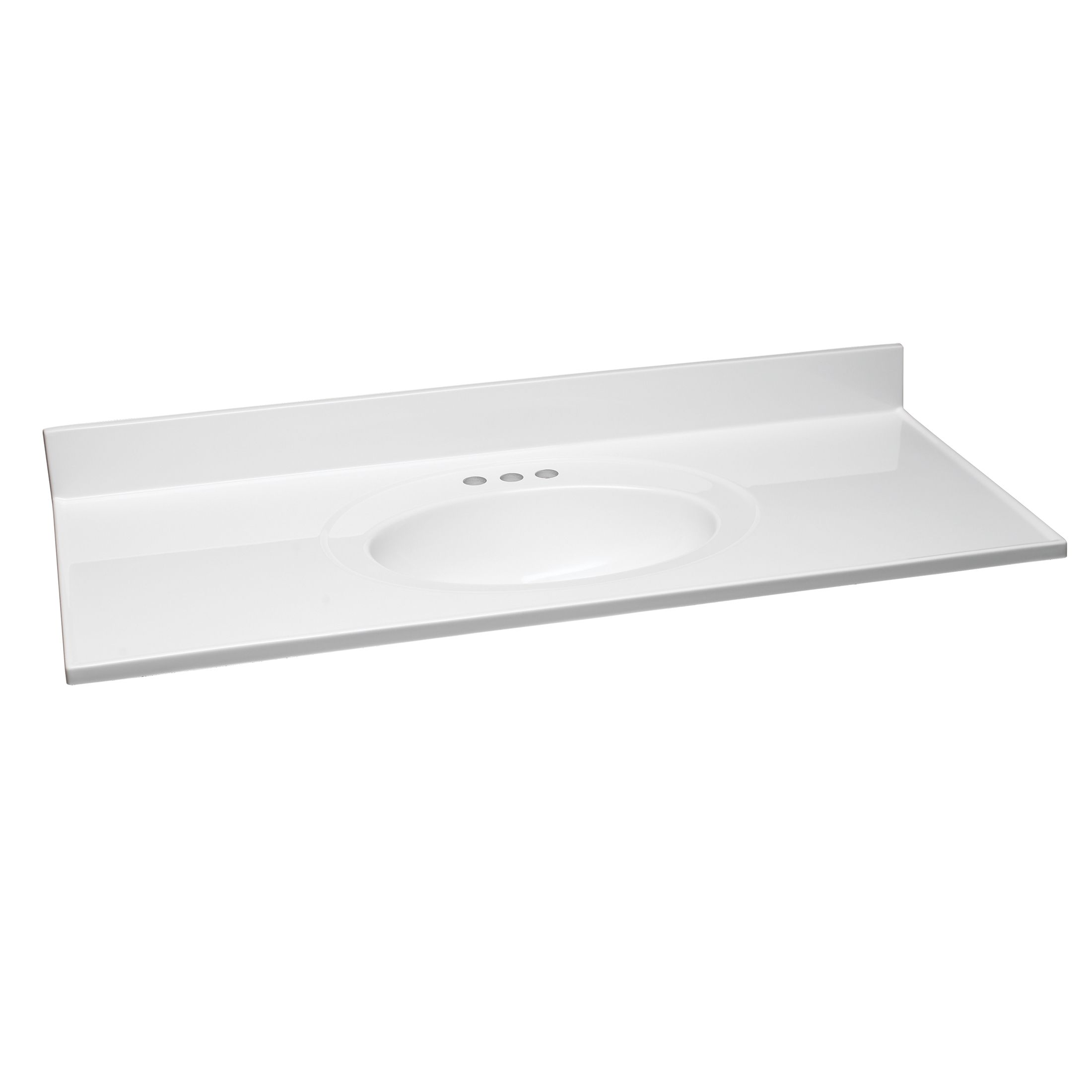 "Cultured Marble Vanity Top, 49"", Solid White #551390"