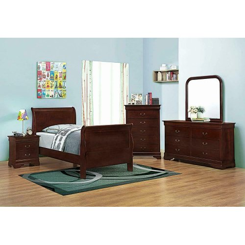 Louis Philippe Traditional Red Brown Sleigh Twin Bed