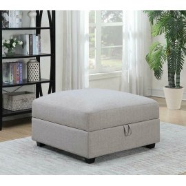 Charlotte Transitional Grey Ottoman