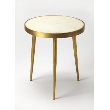 Mid-Century modern gets a contemporary update with this elegant bunching table. Forged from iron with classic tapered legs, its antique gold finish and white marble inset top will stylishly enhance any space - individually or in multiples for greater effe