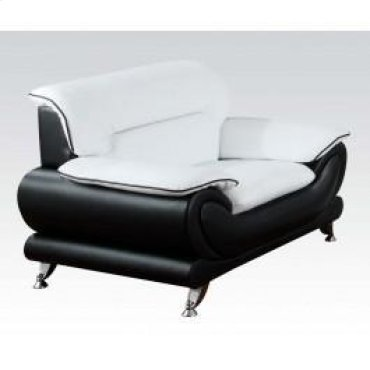 Wh/bk Bonded Leather Chair