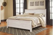 Willowton - White Wash 3 Piece Bed Set (Cal King)
