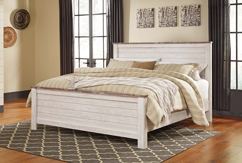 Willowton   White Wash 3 Piece Bed Set (Cal King) Hidden