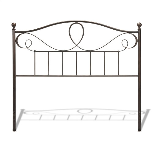 Sylvania Complete Metal Bed and Steel Support Frame with Elegant Pattern of Curves and Twists, French Roast Finish, Full