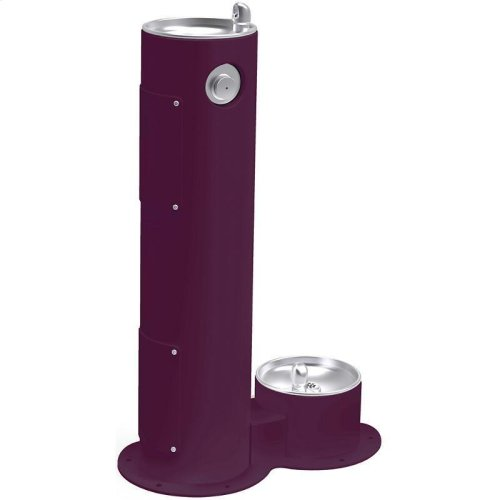 Elkay Outdoor Fountain Pedestal with Pet Station, Non-Filtered Non-Refrigerated, Freeze Resistant, Purple