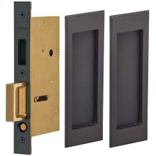 Pair Dummy Pocket Door Lock with Traditional Rectangular Trim featuring Mortise Edge Pull in (US10B Black, Oil-Rubbed, Lacquered)